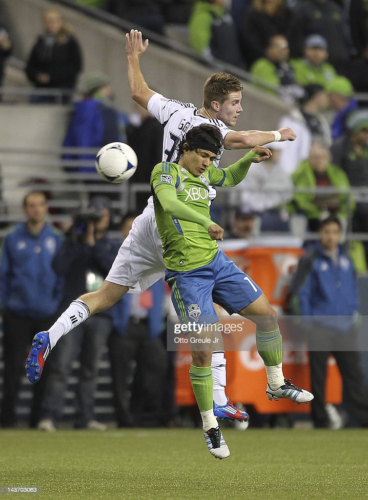 Fredy Montero #17 of the Seattle Sounders battles Bryan Gaul #35 of the Los Angeles Galaxy at CenturyLink Field on May 2, 2012 in Seattle, Washington. The Sounders defeated the Galaxy 2-0.