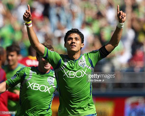 Fredy Montero of the Seattle Sounders FC celebrates after scoring a goal to tie the score 11 against Real Salt Lake at CenturyLink Field on September...