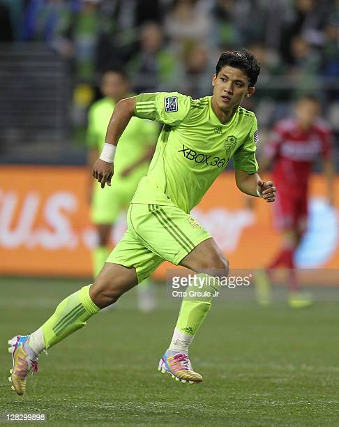 Fredy Montero of the Seattle Sounders FC follows the play against the Chicago Fire during the 2011 Lamar Hunt US Open Cup Final at CenturyLink Field...