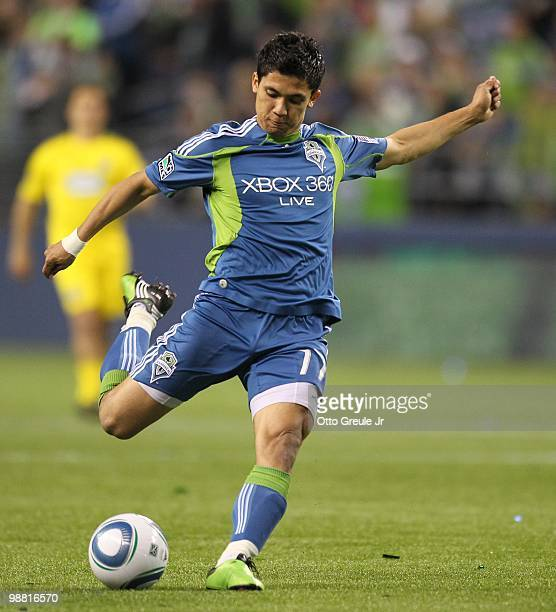 Fredy Montero of the Seattle Sounders FC in action against the Columbus Crew on May 1 2010 at Qwest Field in Seattle Washington