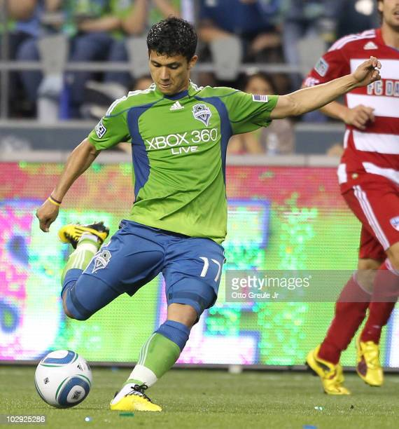 Fredy Montero of the Seattle Sounders FC passes against FC Dallas on July 11 2010 at Qwest Field in Seattle Washington