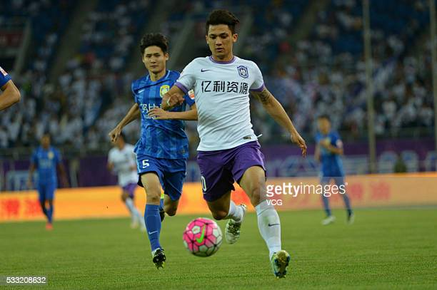 Fredy Montero of Tianjin Teda drives the ball during the Chinese Football Association Super League Round 10 between Tianjin Teda and Jiangsu Suning...