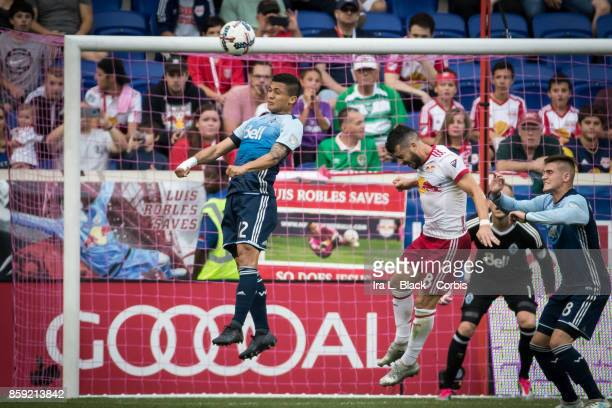Fredy Montero of Vancouver Whitecaps FC heads the ball to clear it during the MLS match between New York Red Bulls and Vancouver Whitecaps FC at the...