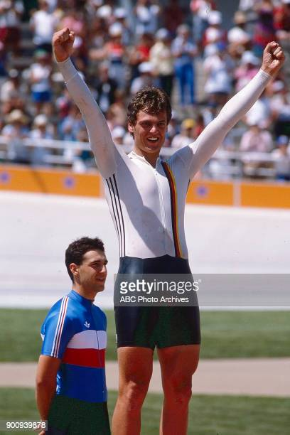 Fredy Schmidtke Fabrice Colas Men's Track cycling 1 km time trial medal ceremony Olympic Velodrome at the 1984 Summer Olympics July 30 1984