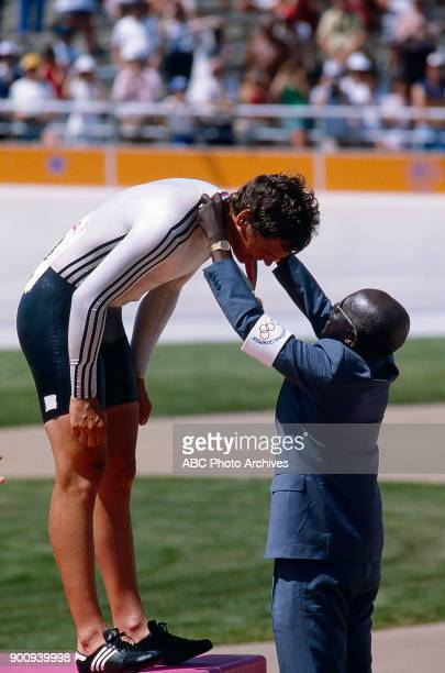 Fredy Schmidtke Men's Track cycling 1 km time trial medal ceremony Olympic Velodrome at the 1984 Summer Olympics July 30 1984