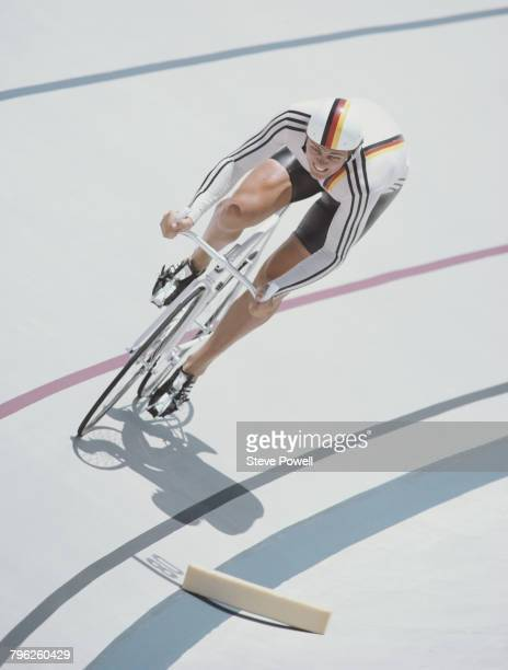 Fredy Schmidtke of Germany during the Men's 1000 metres Time Trial on 30th July 1984 during the XXIII Olympic Summer Games at the Olympic Velodrome...