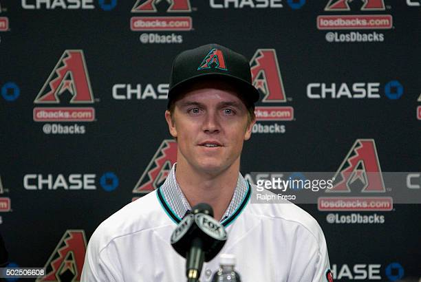 Free agent aquisition Zack Greinke of the Arizona Diamondbacks speaks during a press conference at Chase Field on December 11 2015 in Phoenix Arizona
