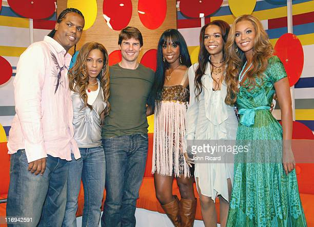 AJ Free and Tom Cruise with Kelly Rowland Michelle Williams and Beyonce Knowles of Destiny's Child