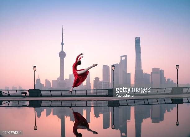 free ballet dancing at shanghai bund in the morning,china - lujiazui stock pictures, royalty-free photos & images