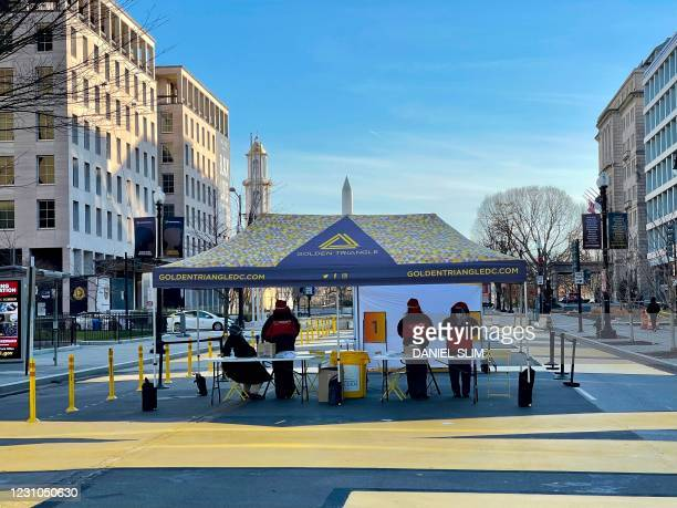 Free Covid-19 testing site is seen on Black Lives Matter plaza, across from the White House as a coronavirus variant first identified in Britain is...