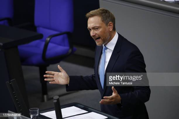Free democrats leader Christian Lindner, addresses the members of parliament during a debate on the actual situation of the Covid-19 Pandemic in the...