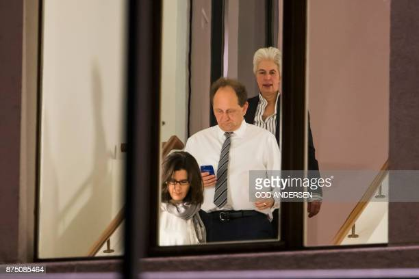 Free Democrats Party vice chairpersons Katja Suding MarieAgnes StrackZimmermann and Alexander Graf Lambsdorff descend a staircase during a break in...