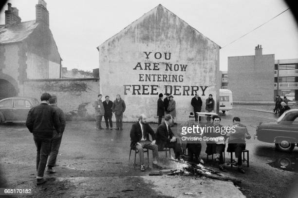 """Free Derry Corner in the Bogside neighbourhood of Derry/Londonderry, Northern Ireland, 1972. The spot is famous for the the slogan, """"You Are Now..."""