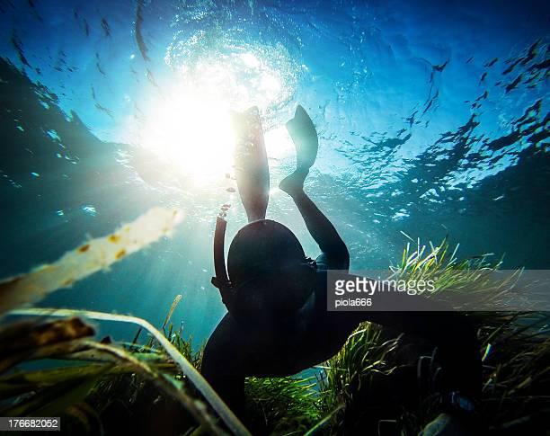 Mergulhador livre spearfishing do Abismo