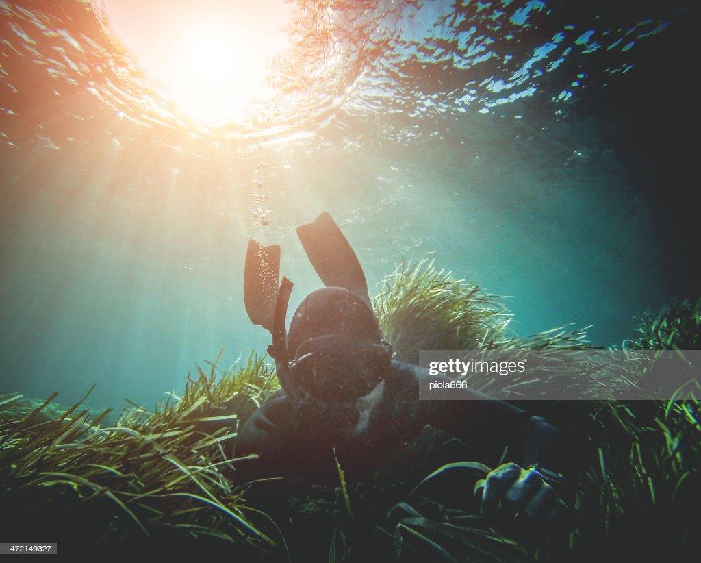 Immersione libera pesca in apnea nel abissi-Florida : Foto stock