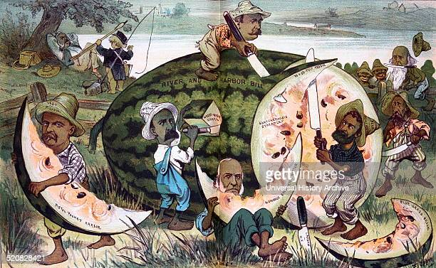A free feast for the congressional coloured boys they are all after a slice' Print shows several legislators slicing up a large watermelon labelled...