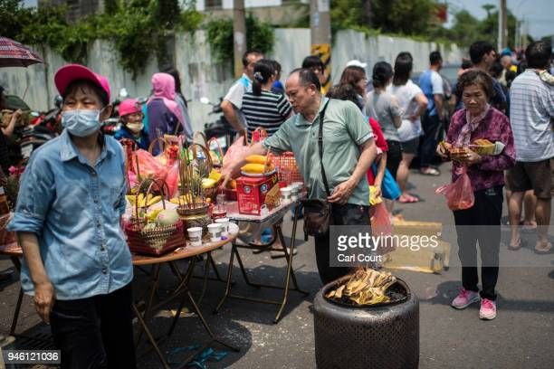 Free food is prepared by locals for pilgrims on day 2 of the nine day Mazu pilgrimage on April 14 2018 in Dadu Taiwan The annual Mazu Pilgrimage...