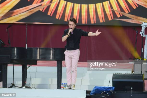 SALES free for editorial use In this handout provided by 'One Love Manchester' benefit concert Mark Owen of Take That performs on stage on June 4...