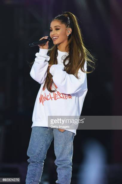 Free for editorial use. In this handout provided by 'One Love Manchester' benefit concert Ariana Grande performs on stage on June 4, 2017 in...