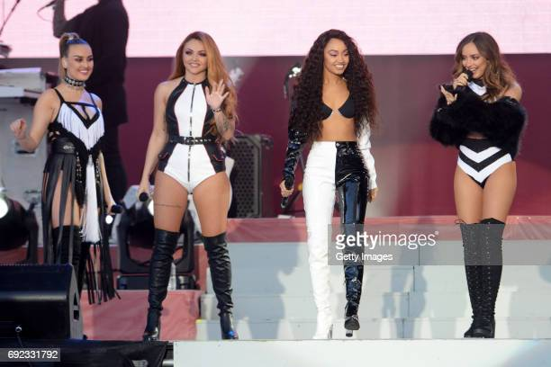 SALES free for editorial use In this handout provided by 'One Love Manchester' benefit concert Perrie Edwards Jesy Nelson LeighAnne Pinnock and Jade...