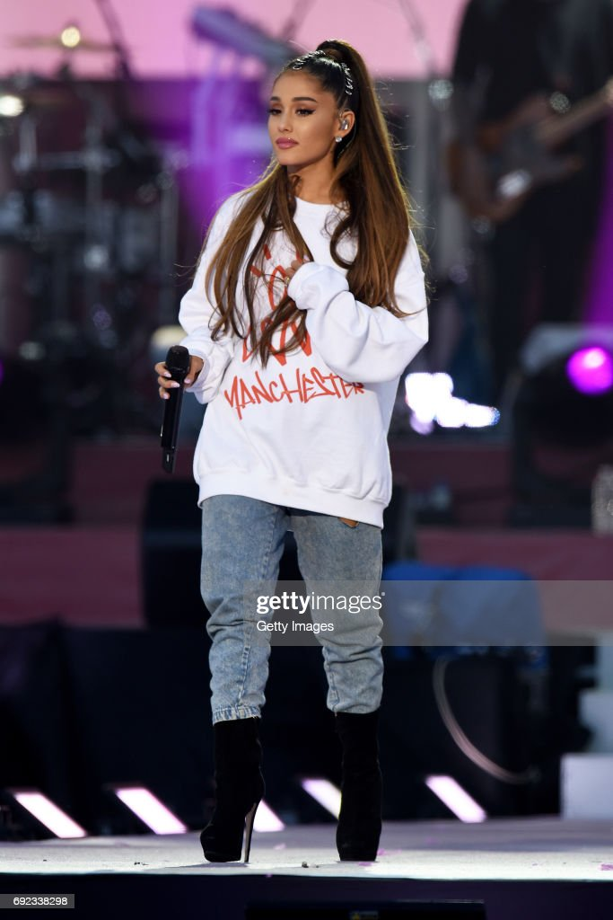 NO SALES, free for editorial use. In this handout provided by 'One Love Manchester' benefit concert Ariana Grande performs on stage on June 4, 2017 in Manchester, England. Donate at www.redcross.org.uk/love