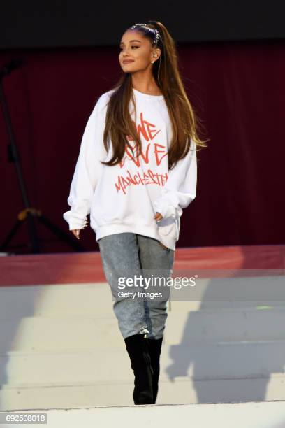 SALES free for editorial use In this handout provided by 'One Love Manchester' benefit concert Ariana Grande performs on stage on June 4 2017 in...