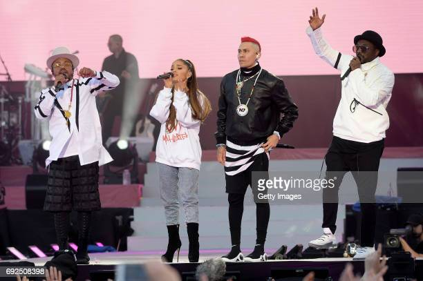 SALES free for editorial use In this handout provided by 'One Love Manchester' benefit concert apldeap Ariana Grande Taboo and william perform on...