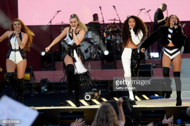 SALES free for editorial use In this handout provided by 'One Love Manchester' benefit concert Jesy Nelson Perrie Edwards LeighAnne Pinnock and Jade...