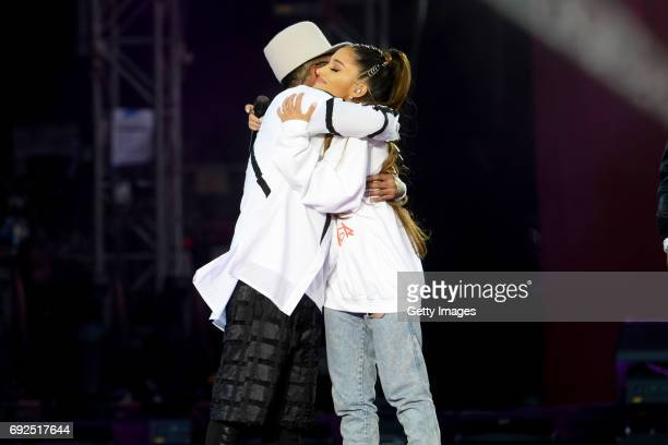 SALES free for editorial use In this handout provided by 'One Love Manchester' benefit concert apldeap and Ariana Grande perform on stage on June 4...