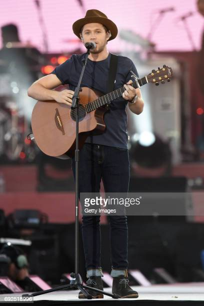 SALES free for editorial use In this handout provided by 'One Love Manchester' benefit concert Niall Horan performs on stage on June 4 2017 in...