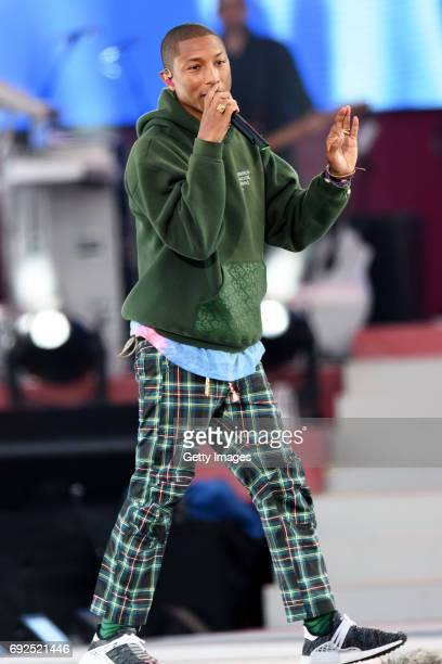 SALES free for editorial use In this handout provided by 'One Love Manchester' benefit concert Pharrell Williams performs on stage on June 4 2017 in...