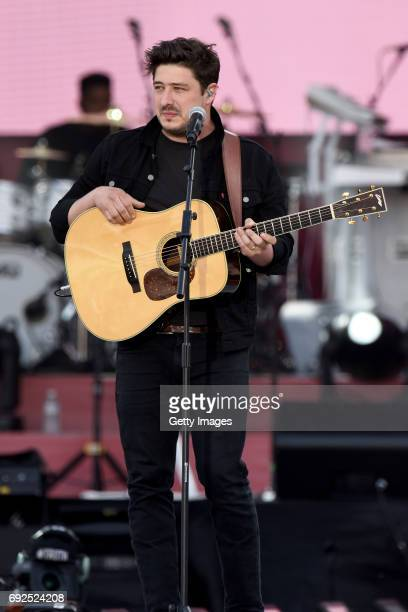 SALES free for editorial use In this handout provided by 'One Love Manchester' benefit concert Marcus Mumford performs on stage on June 4 2017 in...