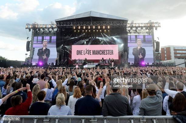SALES free for editorial use In this handout provided by 'One Love Manchester' benefit concert Take That perform on stage on June 4 2017 in...