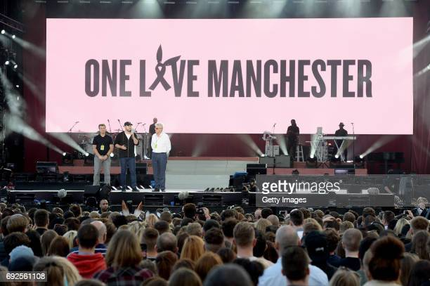 SALES free for editorial use In this handout provided by 'One Love Manchester' benefit concert Scooter Braun speaks on stage on June 4 2017 in...