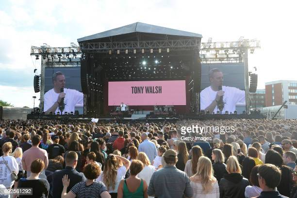 SALES free for editorial use In this handout provided by 'One Love Manchester' benefit concert Tony Walsh performs on stage on June 4 2017 in...