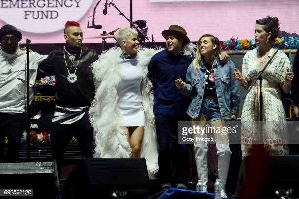 SALES free for editorial use In this handout provided by 'One Love Manchester' benefit concert william Taboo Katy Perry Niall Horan Miley Cyrus and...