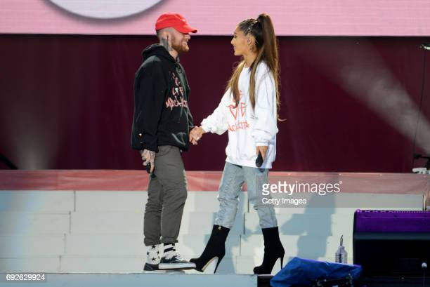 Free for editorial use. In this handout provided by 'One Love Manchester' benefit concert Mac Miller and Ariana Grande perform on stage on June 4,...