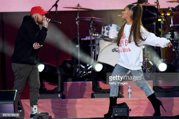 SALES free for editorial use In this handout provided by 'One Love Manchester' benefit concert Mac Miller and Ariana Grande perform on stage on June...