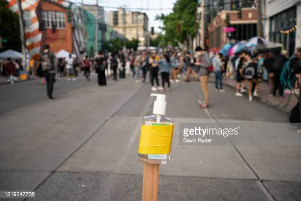 "Free hand sanitizer is seen in the so-called ""Capitol Hill Autonomous Zone"" on June 10, 2020 in Seattle, Washington. The zone includes the blocks..."