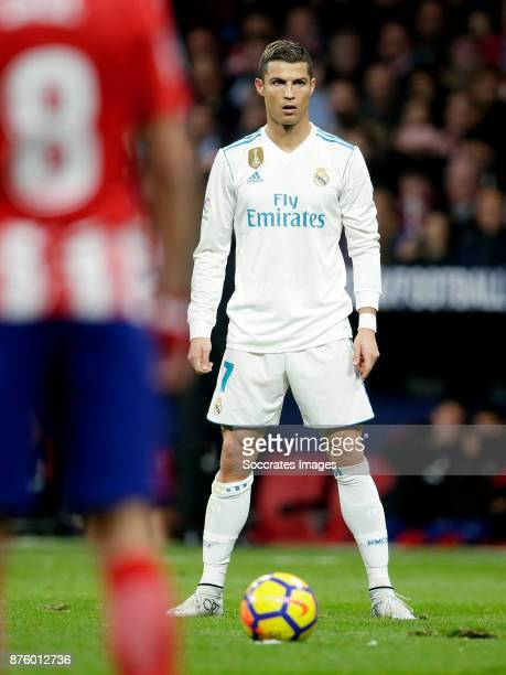 Free kick by Cristiano Ronaldo of Real Madrid during the Spanish Primera Division match between Atletico Madrid v Real Madrid at the Estadio Wanda...