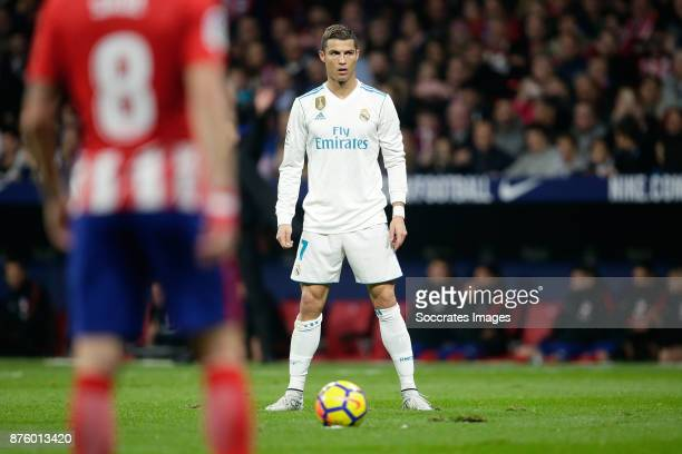 Free kick by Cristiano Ronaldo of Real Madrid during the Spanish Primera Division match between Atletico Madrid v Real Madrid at the Estadio Wanda...