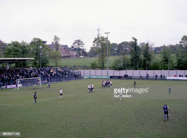 Free kick taken by Ashley Carew Dulwich Hamlet V Margate during the last league game of the season at DHFC temporary ground at Imperial Fields on...