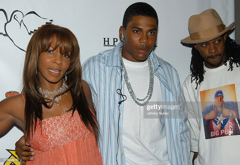 Free, Nelly and Murphy Lee during Free Presents Break!Celebrity Pool Tournament 2004 - Arrivals at Slate in New York City, New York, United States.