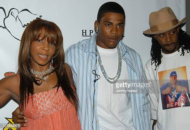 Free Nelly and Murphy Lee during Free Presents BreakCelebrity Pool Tournament 2004 Arrivals at Slate in New York City New York United States