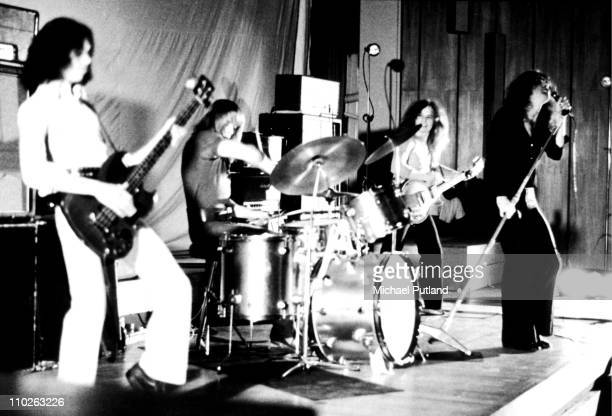 Free perform on stage at Imperial College London on 23rd October 1970 LR Andy Fraser Simon Kirke Paul Kossoff Paul Rodgers
