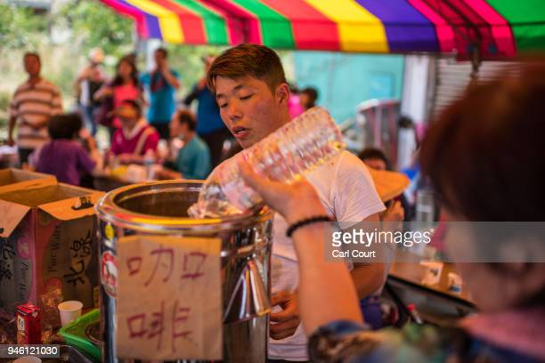 Free refreshments are prepared by locals for pilgrims on day 2 of the nine day Mazu pilgrimage on April 14 2018 in Dadu Taiwan The annual Mazu...