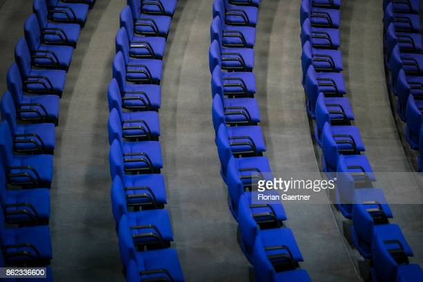 Free rows of seats at the Reichstag are pictured on October 17 2017 in Berlin Germany Following German federal elections last September the new...