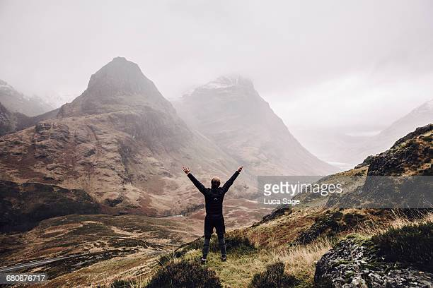 A free runner enjoys the amazing view in Glencoe