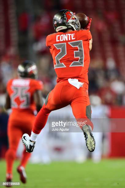 Free safety Chris Conte of the Tampa Bay Buccaneers catches a pass before the game against the New England Patriots on October 5 2017 at Raymond...