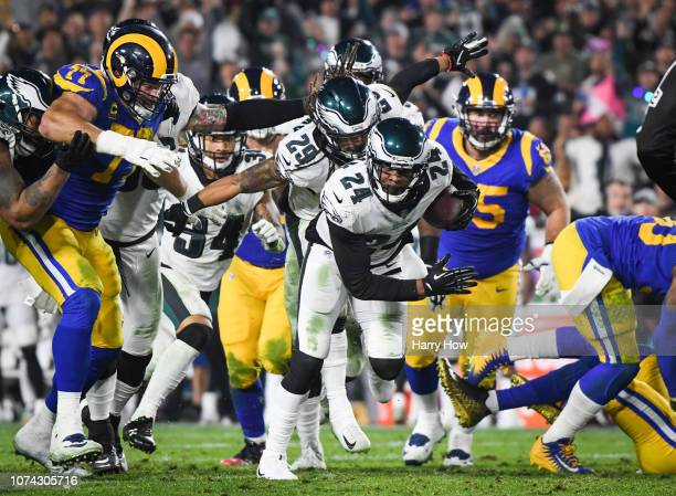 Free safety Corey Graham of the Philadelphia Eagles runs back his interception in the third quarter against the Los Angeles Rams at Los Angeles...